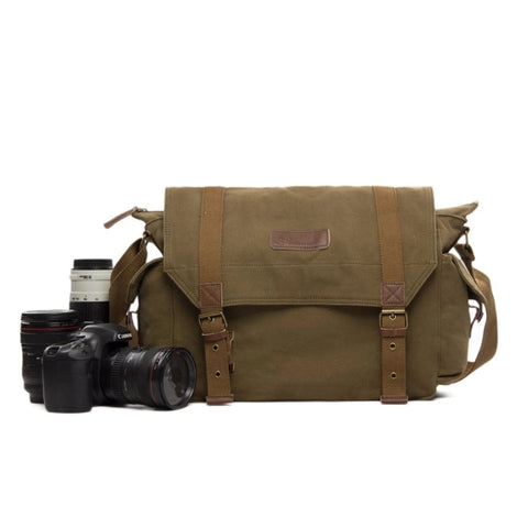 Waxed Canvas Simple DSLR Camera Messenger Bag, Diaper Bag - Army Green - Blue Sebe Handmade Leather Bags