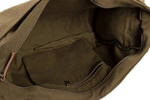 Waxed Canvas Simple DSLR Camera Messenger Bag, Diaper Bag - Khaki - Blue Sebe Handmade Leather Bags