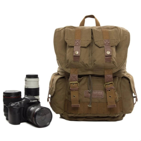 Vintage Waxed Canvas DSLR Camera Backpack - AG - Blue Sebe Handmade Leather Bags