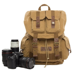 Vintage Waxed Canvas DSLR Camera Backpack - K - Blue Sebe