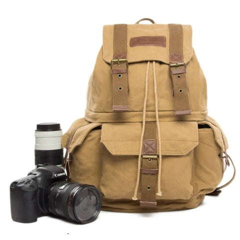 Waxed Canvas DSLR Camera Travel Backpack - K - Blue Sebe Handmade Leather Bags