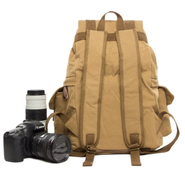 Waxed Canvas DSLR Camera Travel Backpack - K - Blue Sebe