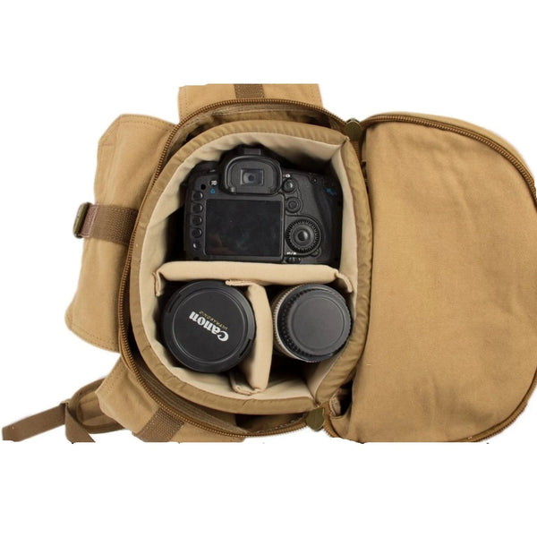 Waxed Canvas DSLR Camera Travel Backpack - AG - Blue Sebe