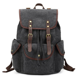 Waxed Canvas with Leather Trim School Backpack - Blue Sebe