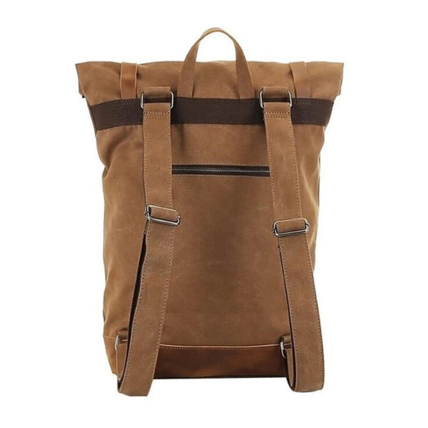 Waxed Canvas With Leather Waterproof Men's Backpack - Blue Sebe