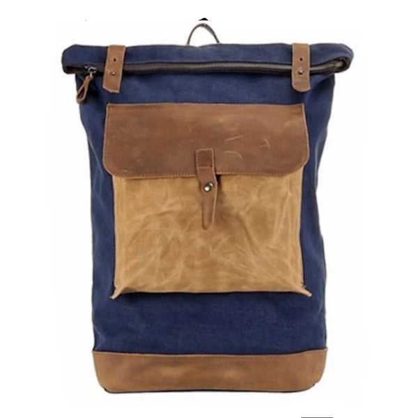 Waxed Canvas With Leather Waterproof Men's Backpack - Blue Sebe Handmade Leather Bags