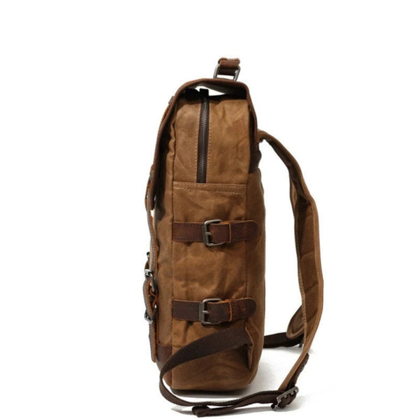 Waxed Canvas Rucksack With Leather Trim - Blue Sebe