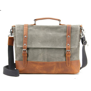 Waxed Canvas with Leather Trim Waterproof Men's Satchel Bag - Blue Sebe Handmade Leather Bags