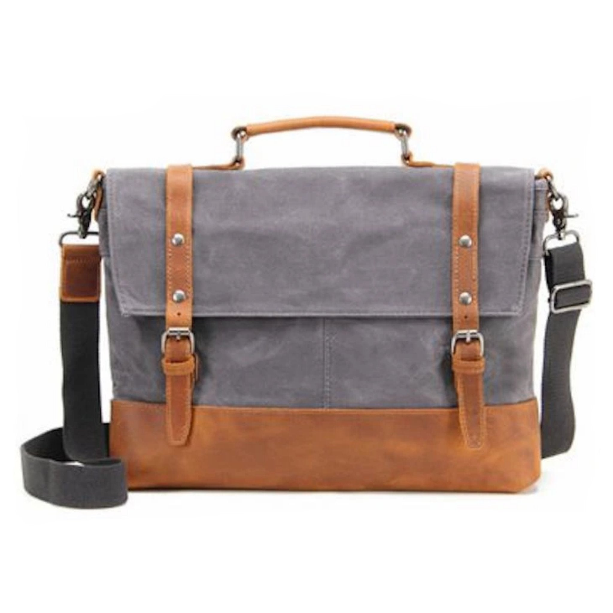 6501e09630f8 BLUESEBE MEN WATERPROOF WAXED CANVAS MESSENGER BAG WITH LEATHER TRIM ...