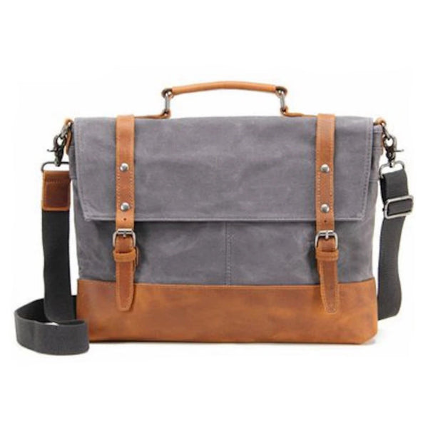 Waxed Canvas with Leather Trim Waterproof Men's Satchel Bag - Blue Sebe