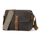 Waxed Canvas Waterproof Camera Messenger Bag - Blue Sebe