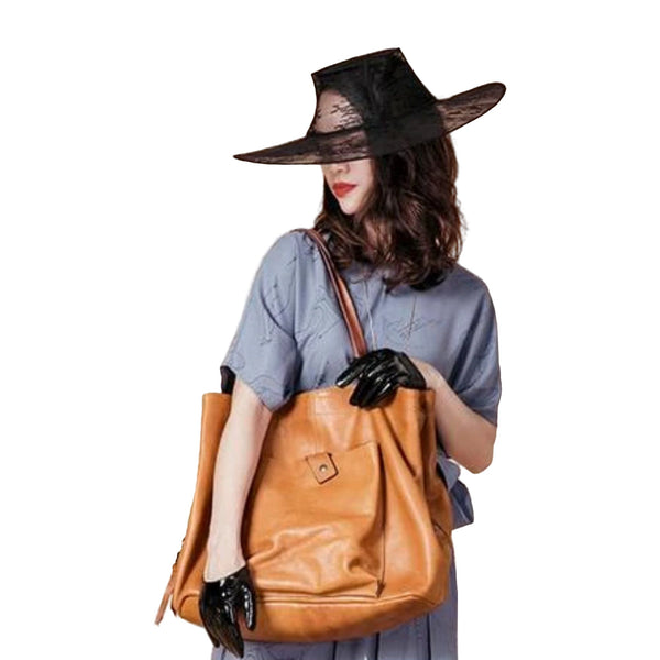 Handmade Full Grain Leather Bucket Tote Bag - Blue Sebe Handmade Leather Bags