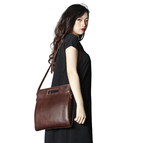 Handmade Full Grain Leather Women's Satchel Bag | Dark Brown - Blue Sebe Handmade Leather Bags