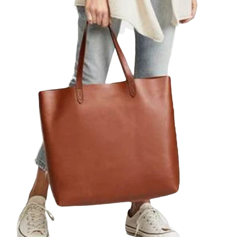 Handmade Full Grain Vegetable Tanned Leather Chic Tote Bag - Blue Sebe Handmade Leather Bags