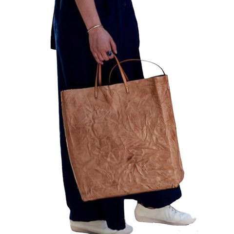 Handmade Full Grain Vintage Leather Shopping Tote Bag - Blue Sebe Handmade Leather Bags