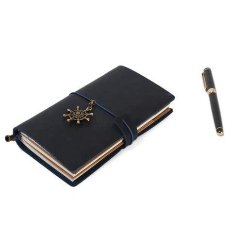 Handmade Full Grain Leather Rustic Travel Journal Notebook - Blue Sebe