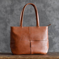 Handmade Vegetable Tanned Leather Banquet Tote Bag - Blue Sebe