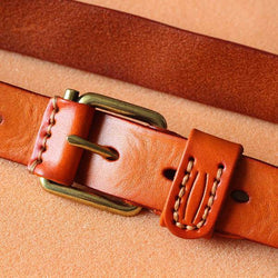 Handmade Vegetable Tanned Leather Belt - Blue Sebe