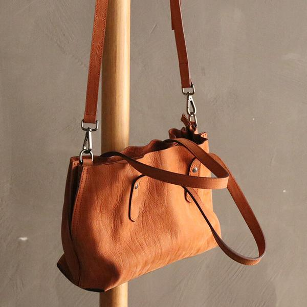 Handmade Vegetable Tan Leather Tote Bag - Blue Sebe
