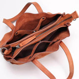 Handmade Vegetable Tanned Leather Tote Bag - Blue Sebe