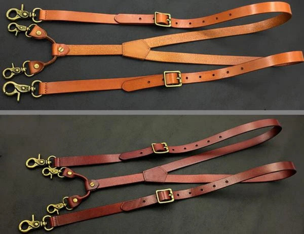 Handmade Vintage Leather Suspenders with Buckle Straps - Blue Sebe Handmade Leather Bags