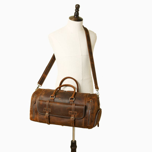 Handmade Vintage Brown Leather Travel Bag with Shoes Compartment - Blue Sebe Handmade Leather Bags