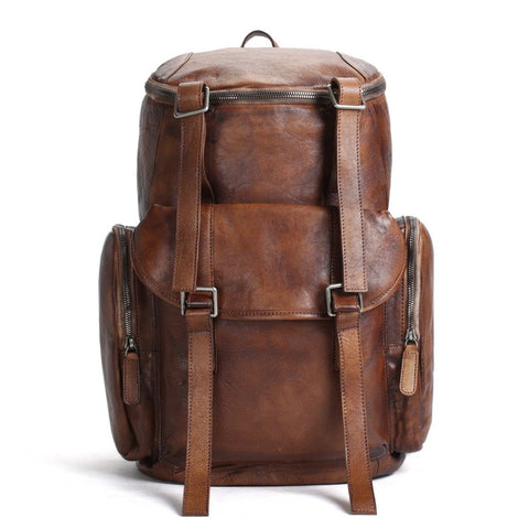 Handmade Vintage Leather Oversized Travel Backpack - Blue Sebe