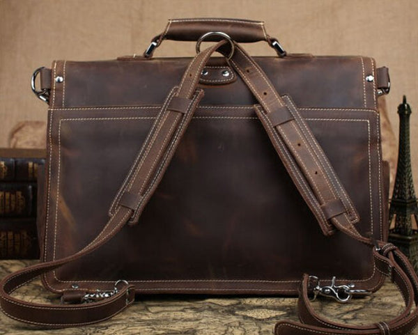 Handmade Vintage Leather Satchel/Backpack - Blue Sebe Handmade Leather Bags