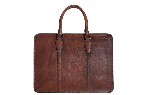 Handmade Retro Full Grain Leather Men's Satchel, Briefcase, Handbag  - Blue Sebe