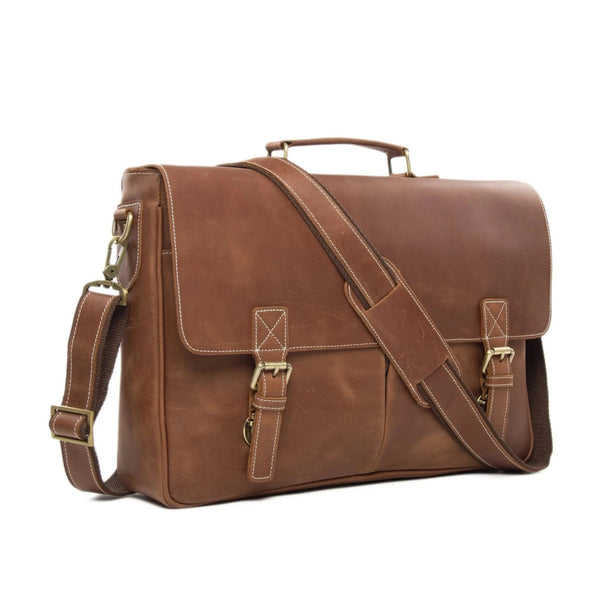 Handmade Classic Full Grain Leather Satchel Bag | Tan Brown - Blue Sebe