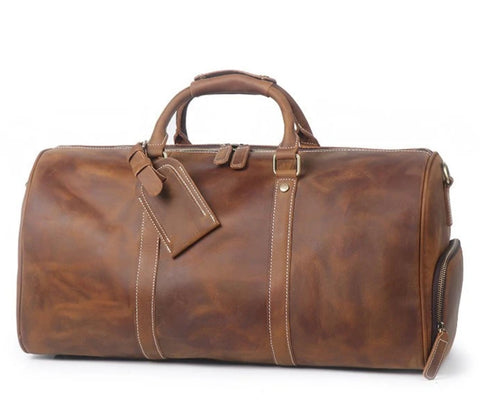 Vintage Crazy Horse Leather Travel Duffle Bag with Shoes Compartment - Blue Sebe