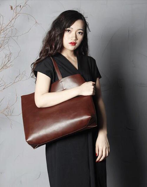 Handmade Leather Women Tote Shoulder Handbag - Blue Sebe