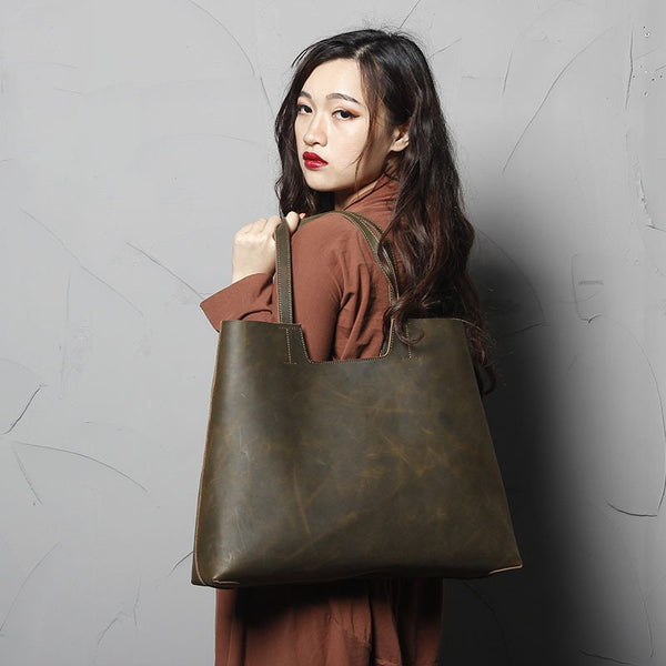 Handmade Vintage Full Grain Leather Tote Handbag - Greenish Brown - Blue Sebe Handmade Leather Bags