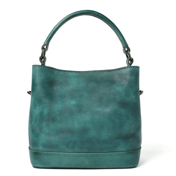 Handmade Full Grain Leather Chic Tote Handbag - Blue Sebe