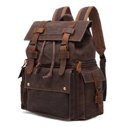 Waterproof Waxed Canvas With Leather Strap Backpack - Blue Sebe