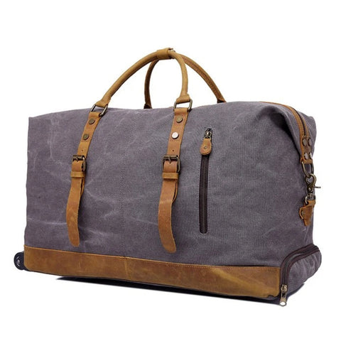 Waxed Canvas Leather Trim 50L Travel Duffel Trolley Bag - Blue Sebe Handmade Leather Bags