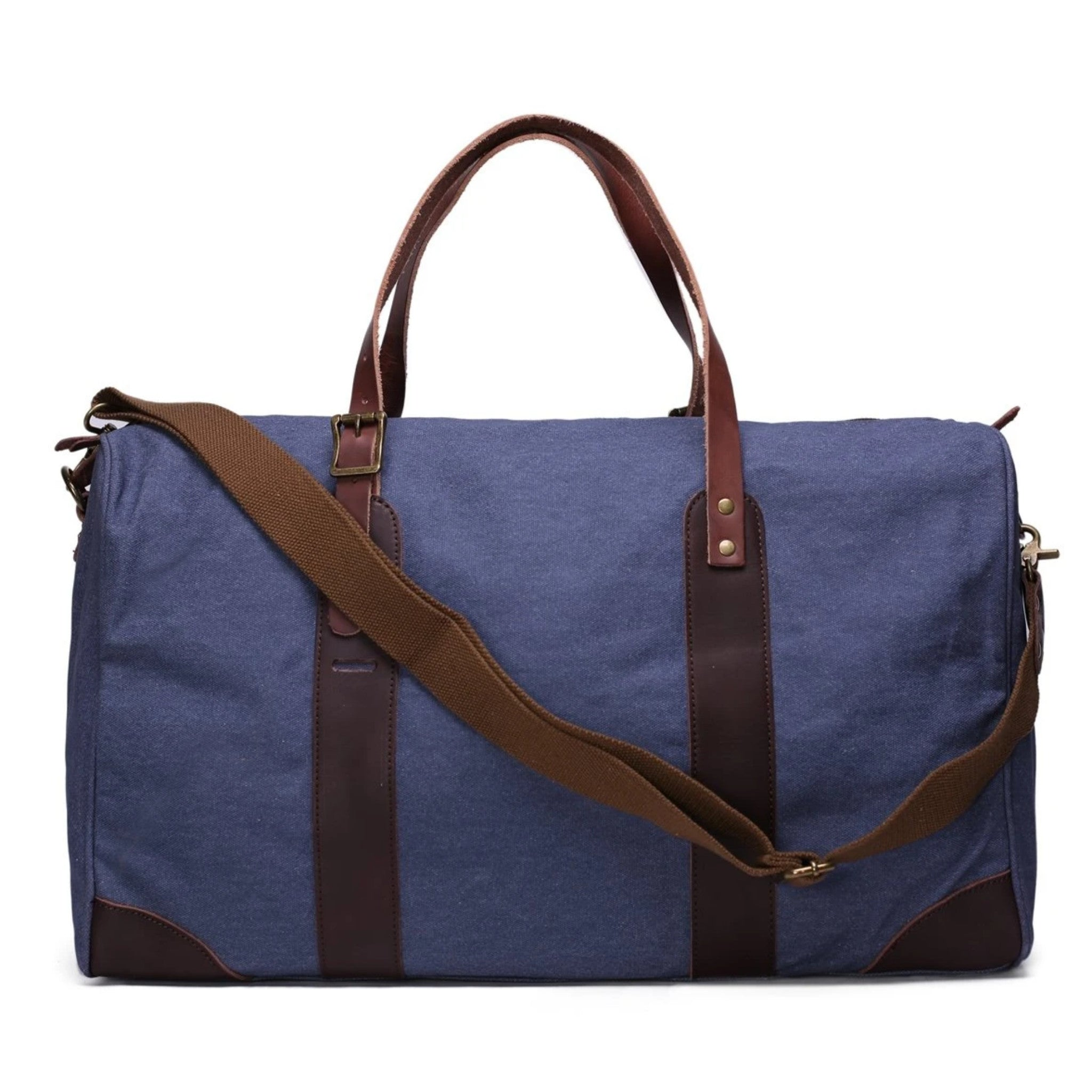 Waxed Canvas with Leather Trim Travel Duffle Weekender Bag | Blue - Blue Sebe