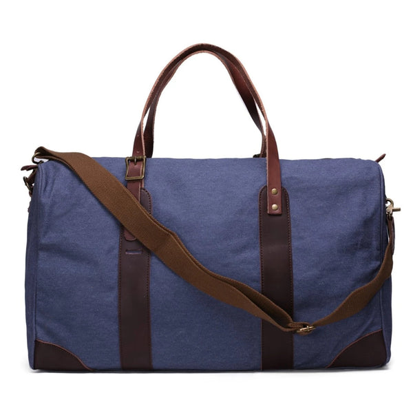 Waxed Canvas with Leather Trim Travel Duffle Weekender Bag | Blue - Blue Sebe Handmade Leather Bags