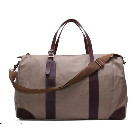 Waxed Canvas with Leather Trim Travel Duffle Weekender Bag | Light Grey - Blue Sebe