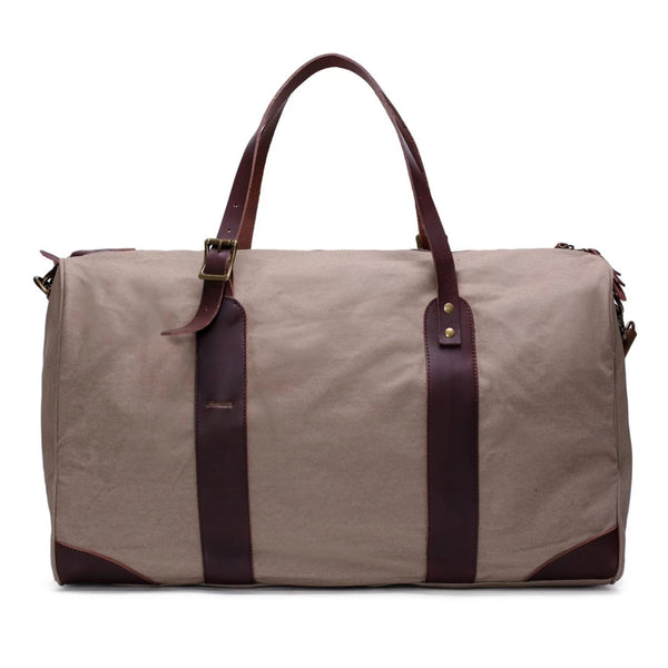 Waxed Canvas with Leather Trim Travel Duffle Weekender Bag | Light Grey - Blue Sebe Handmade Leather Bags