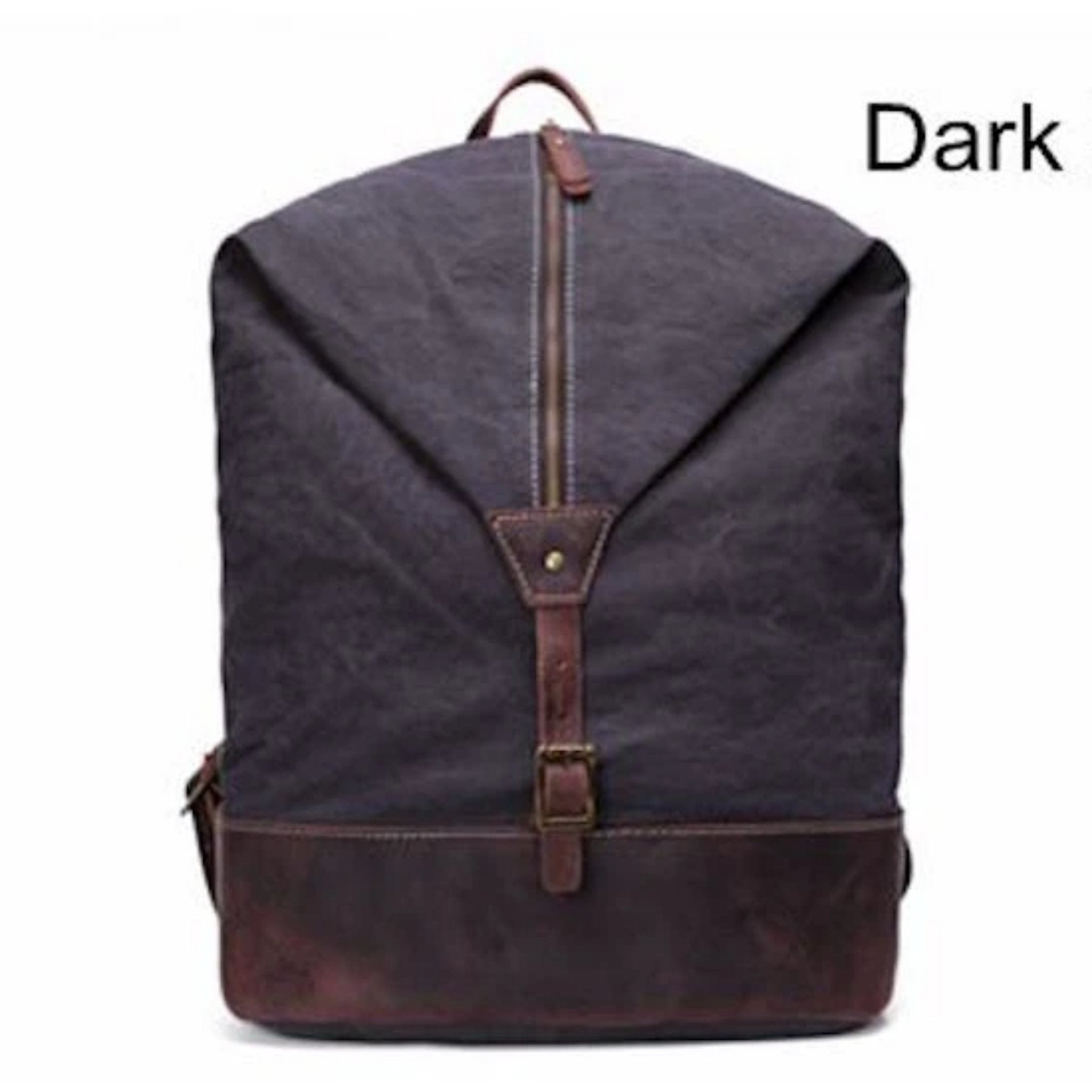 Leather Trimmed Waxed Canvas unisex School Hiking Travel Backpack - Blue Sebe Handmade Leather Bags