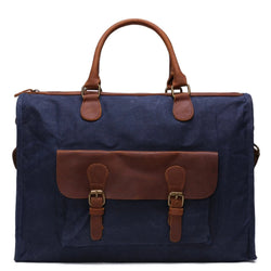 Waxed Canvas and Leather Briefcase Satchel Messenger Bag - Blue Sebe