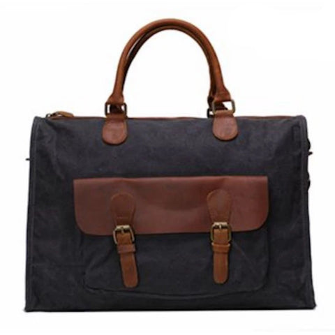 Waxed Canvas and Leather Briefcase Satchel Messenger Bag - Blue Sebe Handmade Leather Bags