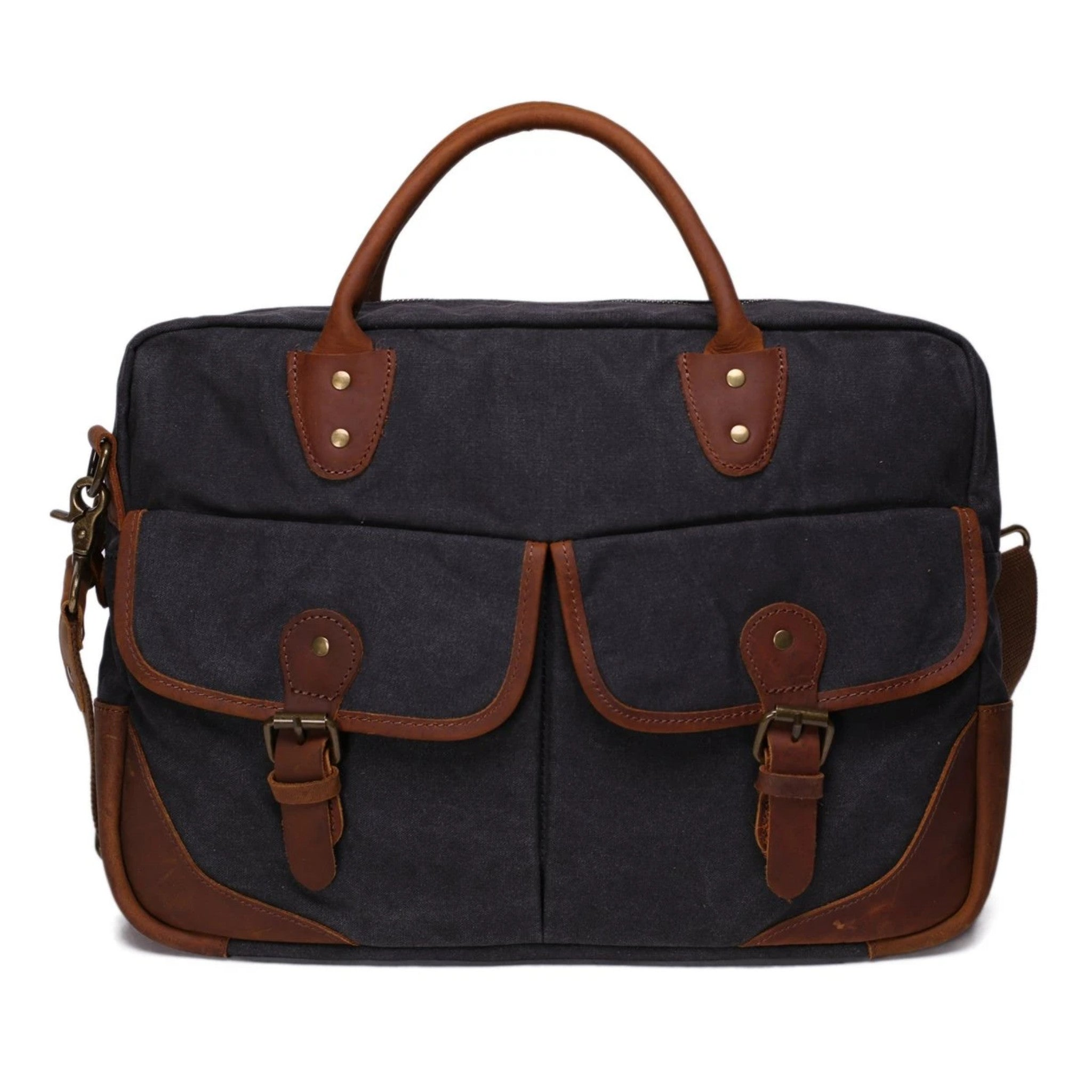 Waxed Canvas With Leather Trim Briefcase Satchel Messenger Bag - Blue Sebe Handmade Leather Bags