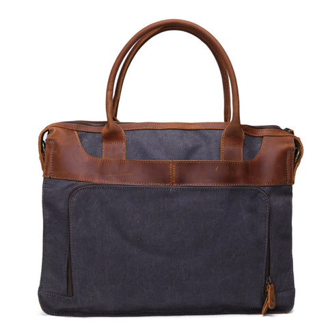 Vintage Leather Trimmed Waxed Canvas Briefcase Satchel Handbag 001 - Blue Sebe