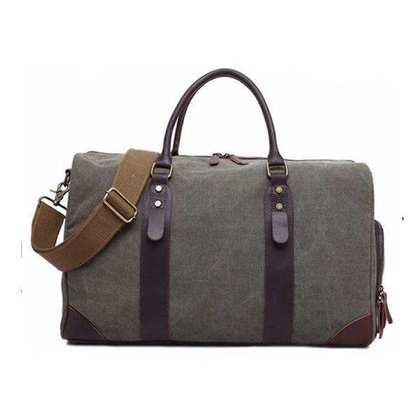 Canvas Leather Trim Travel Duffel with Shoe Pouch - Blue Sebe
