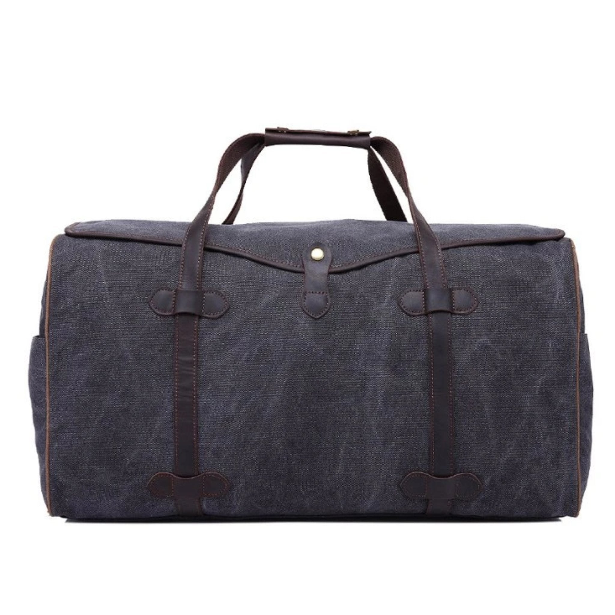 Waxed Canvas with Leather Trim Waterproof Travel Duffel Bag - Blue Sebe
