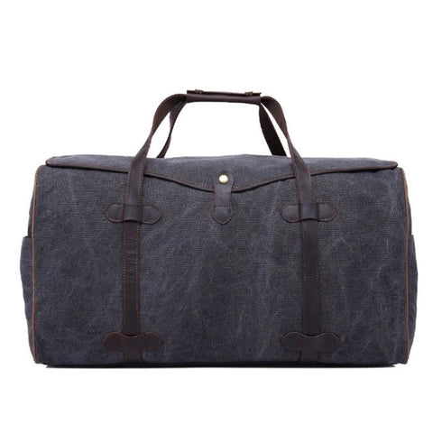Waxed Canvas with Leather Trim Waterproof Travel Duffel Bag - Blue Sebe Handmade Leather Bags