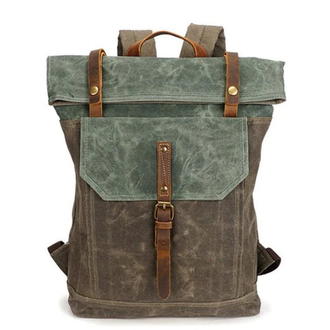 Waxed Canvas With Leather Unisex Hiking School Backpack - Blue Sebe Handmade Leather Bags