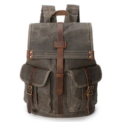 Vintage Waxed Canvas With Leather 21 Liters Men's Backpack - Blue Sebe